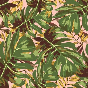 """8"""" Gold, Brown, and Green Tropical Leaves - Peach"""