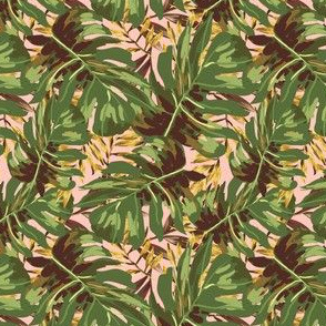 """4"""" Gold, Brown, and Green Tropical Leaves - Peach"""