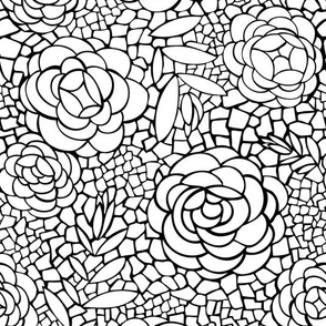 Desert Blossom - Mosaic Floral Coloring Book Style