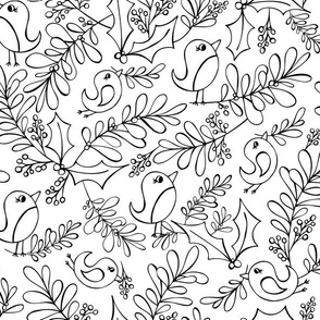 Mistletoe Merriment - Christmas Birds Coloring Book Style
