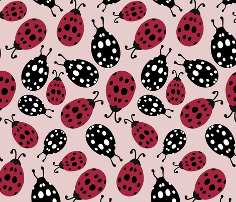 Ladybugs in Red and Black fabric by christina_steward on Spoonflower - custom fabric