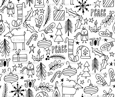 Peace & Joy Christmas Coloring Book Style