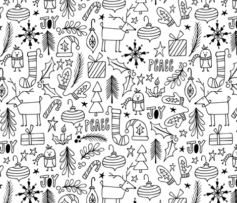 peace joy christmas coloring book style fabric by heatherdutton on spoonflower custom fabric