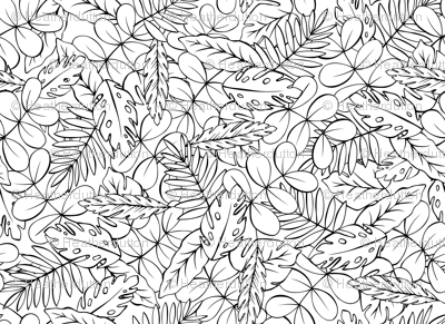 Modern Jungle - Tropical Leaves Coloring Book Style wallpaper ...
