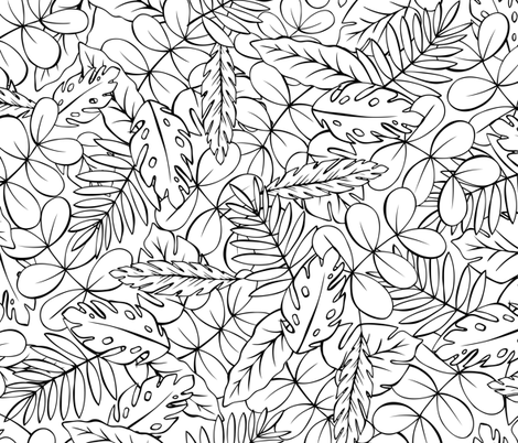 Modern Jungle - Tropical Leaves Coloring Book Style fabric ...