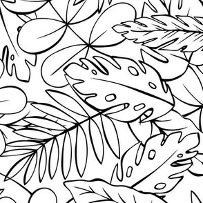 Modern Jungle - Tropical Leaves Coloring Book Style