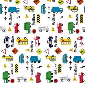 cars & trucks  VERTICAL 9 multi-metro  PERSONALIZED Matthew