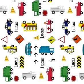 cars & trucks  LARGE VERTICAL multi-metro PERSONALIZED Lucas