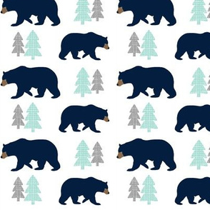 Navy Bears - Gray Mint Trees Bear Baby Nursery Kids Childrens Bedding Woodland Animals