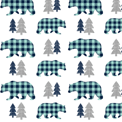 Bears Trees Gray Navy And Mint Plaid Bear Buffalo Check Woodland Baby