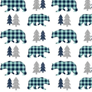 Bears & Trees  – Gray, Navy and Mint Plaid Bear Buffalo Plaid Check Woodland Baby Boy Nursery Bedding