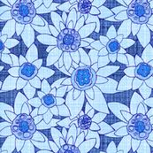 Edelweiss Flowers blue linen