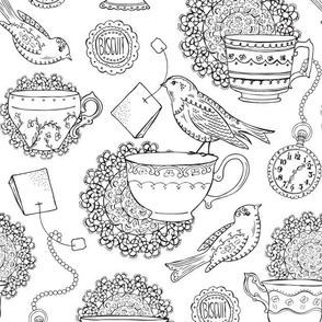 Afternoon Tea Coloring Book Style
