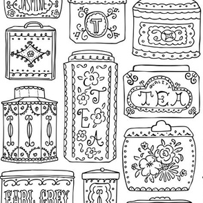 Tea Tins Coloring Book Style