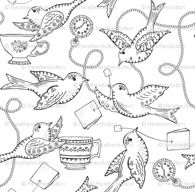 Twittering Tea Party Coloring Book Style fabric - heatherdutton ...