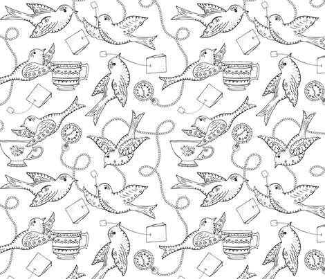 Twittering Tea Party Coloring Book Style wallpaper - heatherdutton ...