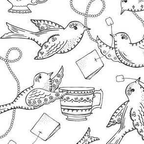 Twittering Tea Party Coloring Book Style