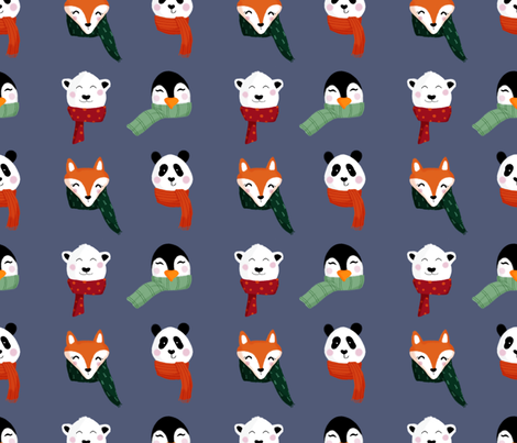 Animals in Scarves fabric by allhaildesign on Spoonflower - custom fabric