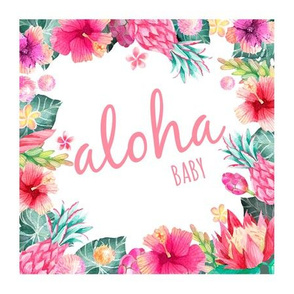 Tropical pink aloha baby lovey