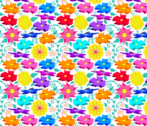 Paper Flowers on white fabric by everhigh on Spoonflower - custom fabric