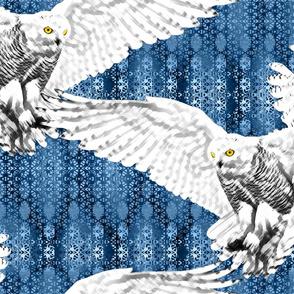 snowy owl3 final snowflake bkgd