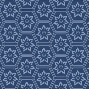 Woodcut Hexes - Dark Blue