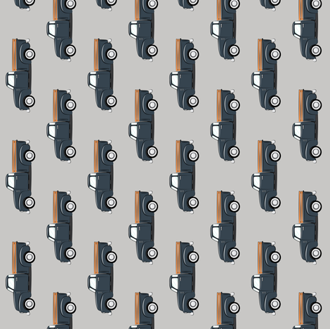 (small scale) vintage truck - dark blue on grey (90) fabric by littlearrowdesign on Spoonflower - custom fabric