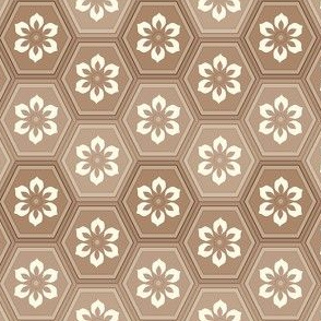 6-Petal Flower In Multi-color Hexes - Sepia