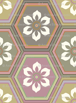 Flower Hexes - Neutrals - Medium
