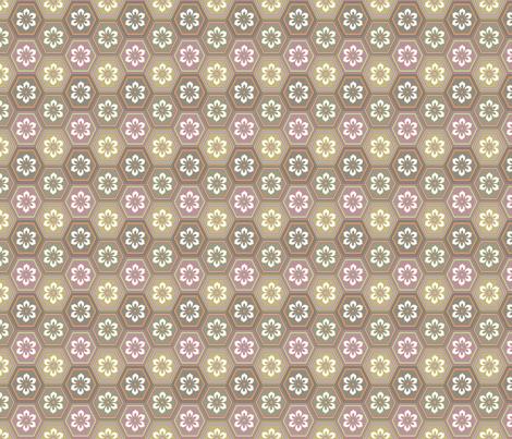 Flower Hexes - Neutrals - Medium fabric by ameliae on Spoonflower - custom fabric