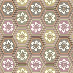 6-Petal Flower In Multi-color Hexes - Soft Neutrals