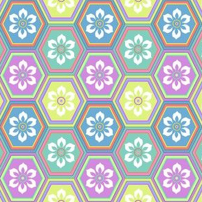 6-Petal Flower In Multi-color Hexes - Pastel