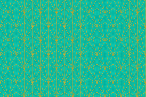 Mermaid Tile - Gold on Aqua fabric by maryashlynthomas on Spoonflower - custom fabric