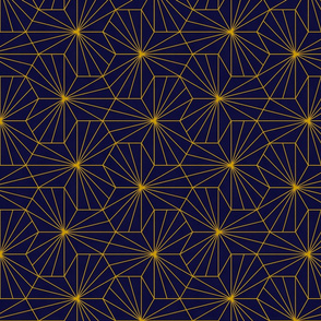 Gold Sunburst Tile - Navy
