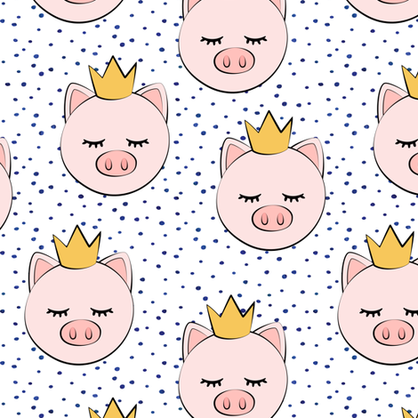 princess/prince pig - blue dots fabric by littlearrowdesign on Spoonflower - custom fabric
