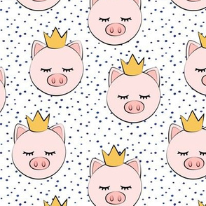 princess/prince pig - blue dots