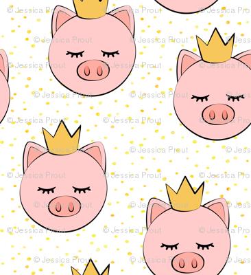 princess/prince pig - yellow dots