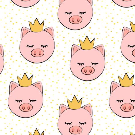 princess/prince pig - yellow dots fabric by littlearrowdesign on Spoonflower - custom fabric