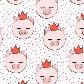 princess/prince  pig - red dots