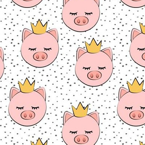 princess/prince pig - grey dots