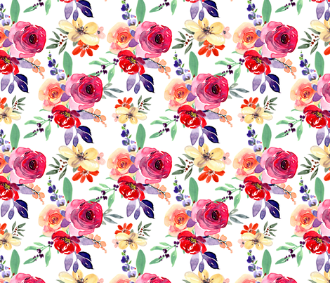 Watercolor purple roses bouquets fabric by graphicsdish on Spoonflower - custom fabric