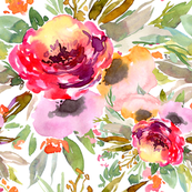 Watercolor flowers bouquets