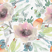 Watercolor flowers bouquets on linen grey background