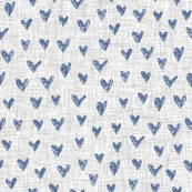 Hand painted navy blue hearts on grey linen background