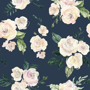 Watercolor blue roses flowers on dark dusty blue sackground