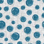 Polka dots blue circles on linen background