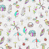 Pattern for children with cartoon objects on a gray linen background