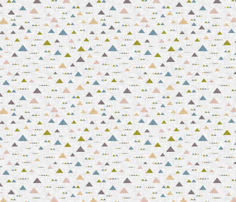 Multicolored triangles on a gray linen background fabric by graphicsdish on Spoonflower - custom fabric