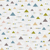 Multicolored triangles on a gray linen background
