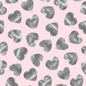 Charcoal grey textured watercolor hearts Valentines day love pattern on pink background